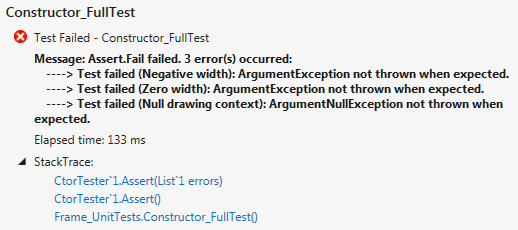 Constructor with defects test result