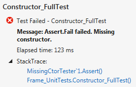 Missing constructor test result