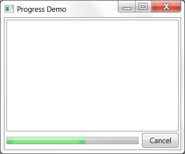 Data window with progress